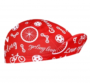 Czapeczka kolarska TROFEO. Bike Love Red