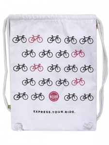 Express.Your.Ride. Drawstring Backpack WHT