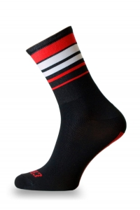 Crazybiker Black / Red Stripes Cycling Socks