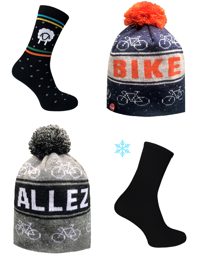 Stay warm from head to toe ! Casual pom pom beanie & merino wool socks by TROFEO.